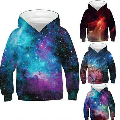 Kids Girl Boy Galaxy Hoodie Sweatshirt Pullover Jumper Jacket Coat Flexible TopS