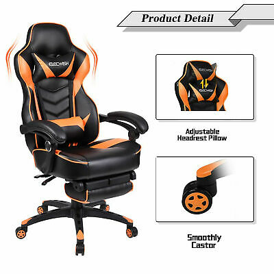 Video Racing Massage Gaming Chair High Back Reclining Leather Computer Desk Seat