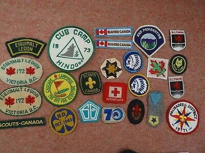 Job Lot Vintage Boy Scouts Patches From Canada, Early 1970S All Different
