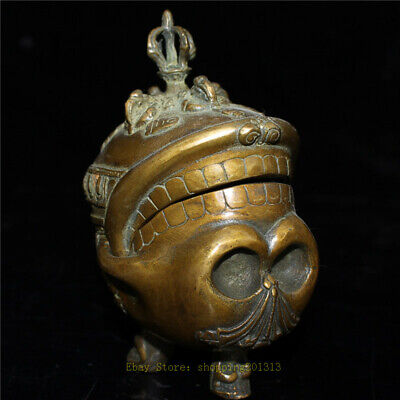 "5.12""Antique Chinese pure copper Handmade Skull Head Incense burner censer"