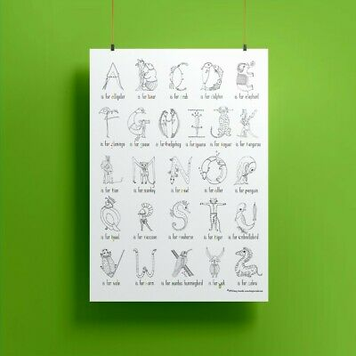 Animal Alphabet Abc Colour-in Learning Fun Nursery Kids Childrens Poster A3
