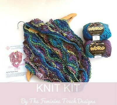 Knitting kit for Flowery Infinity Scarf , Pink / Blue choice using Noro Yarn