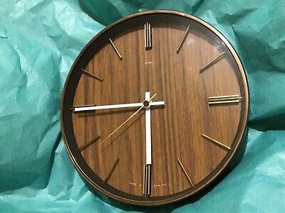 METAMEC Mid-Century Wood Effect Wall Clock (Battery)