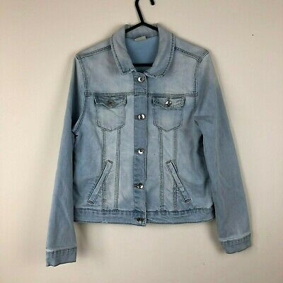 Zara Girls Blue Cotton Button Up Denim Jacket Coat Top Shirt Age 13-14 Years