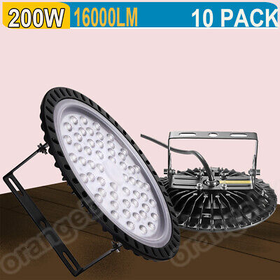 10PACK 200W LED High Bay Light Industrial Warehouse Commercial Factory Lamp UK