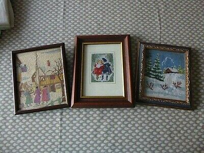 Vintage Hand Embroidered Pictures X 3. Christmas/Festive Scenes