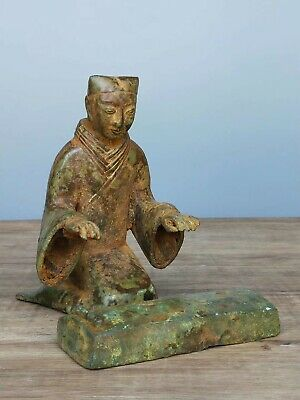China Ancient Han Dynasty Tomb Burial Bronze Musician Play Piano Figure Statue