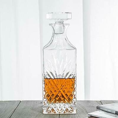 Crystal Irish Diamond Cut Rectangle Decanter, Great Gift for Wine Lovers