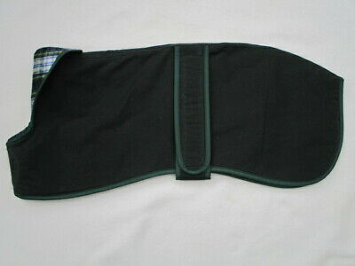 """21"""" 53 cm WHIPPET COAT GREEN WAX THIN LAYER OF WADDING BRUSHED COTTON LINED"""