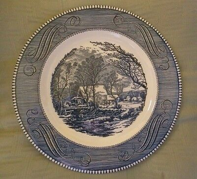 "Royal China Currier & Ives The Old Grist Mill 10"" Blue Dinner Plate Exc."