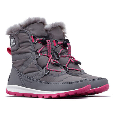 Sorel Youth Whitney Short Lace Winter Snow Boots Quarry & Ultra Pink, Size 0.5