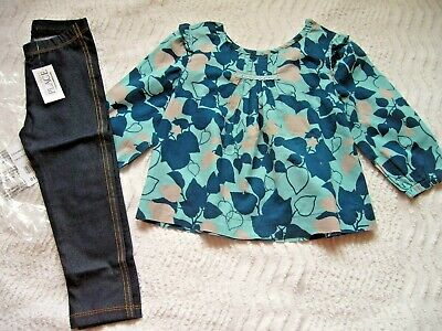 Vertbaudet Long Sleeve Blouse 2 Years & Bnwt Dark Blue Indigo Leggings C/Place