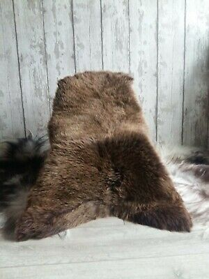 Small Brown Genuine Sheepskin Rug 100-70cm/3