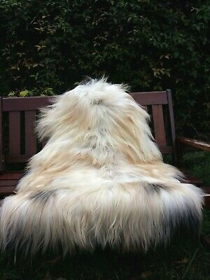 Genuine Sheepskin Rug Beige/White/Brown/Multi  120-80cm/1