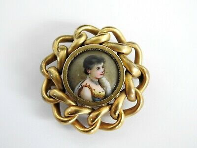 Antique Victorian Jewelry Brooch Miniature Hand Painted Enamel Gold Tone EIF Co