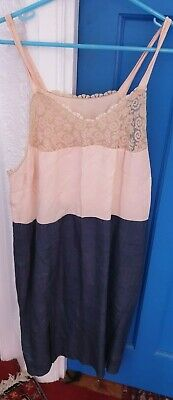 Home made vintage night dress with lace Cream & grey Great condition for age