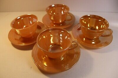 Lot of 4 vintage cups and saucers Fire King Peach luster color