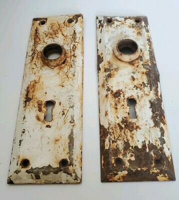 2 Metal Door Backplates Back plates Vintage Architecture~Shabby Chic