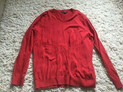 Kensington eastside mens red cotton knit v neck jumper size XL