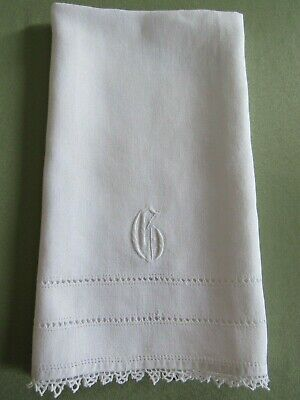 """Antique MONOGRAMMED """" G """" Guest Show Towel TATTED Edging Embroidered Linen"""