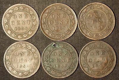 1859 (Lot of 6) Canada Silver One Cent Pieces (Varying Cond) - Free Shipping USA