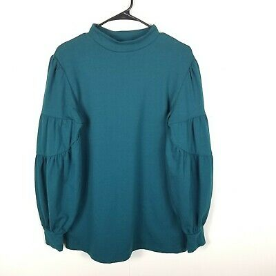 Isabel Maternity Women Knit Top Long Sleeve Shirt Mock Neck Teal XS