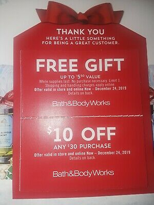 Bath & Body Works Coupons $10 Off $30 Purchase & $5.50 Gift Exp 12/24/19