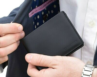 Men's Slim Quality Genuine Leather Bifold Wallet - BLACK - with Gift Bag