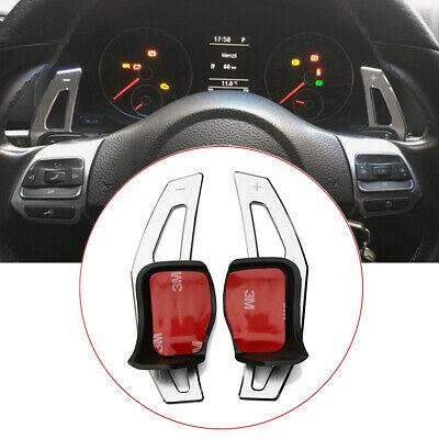 Three T Carbon Fiber Steering Wheel Shift Paddle Shifter Extension Trim Cover Fit for VW MK5 MK6 GTI R20 Red