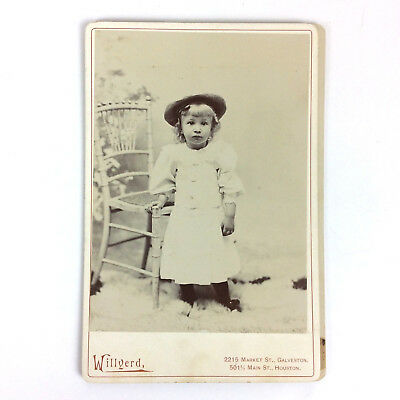 Antique Cabinet Card Photo Studio Portrait Toddler Girl Wearing Hat 4x5.5