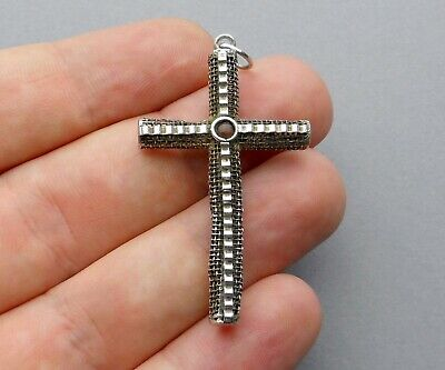 French, Antique Large Stanhope Cross. Pendant. Sterling Medal.