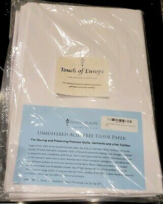 """TOUCH OF EUROPE [72 Sheets] Acid Free White Tissue Paper Unbuffered 20x30"""" - NIP"""