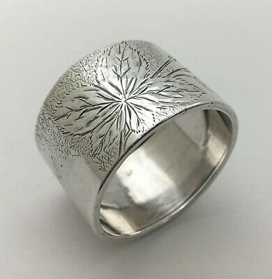 "Fine Antique Bright Cut Engraved Sterling Silver Napkin Ring ""MARGARET"""