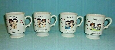 Kim Casali Set Of 4 Vintage 1972 LOVE IS...Footed Coffee Mugs...ALL DIFFERENT