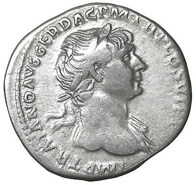 Trajan Ar Denarius old ancient roman silver coin Rome Empire Imperial Authentic