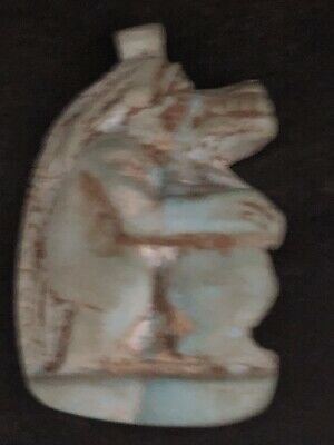 Rare Ancient Egyptian Faience Amulet Pendant Sobeck -sekhmet 26th DYN 680 Bc