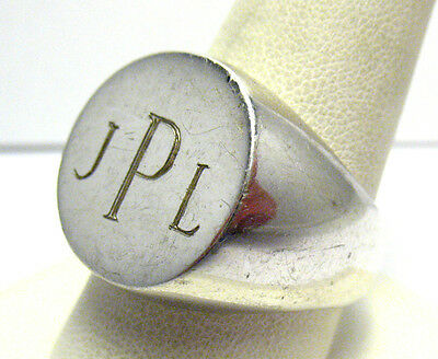 "STERLING SILVER SIGNET INITIAL RING ""JPL"" vintage SIZE 12   12.9 GRAMS SYBOLL"