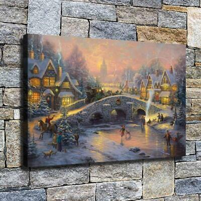 """12""""x18"""" Christmas Scenery Paint HD Canvas print Home decor Room Wall art Picture"""