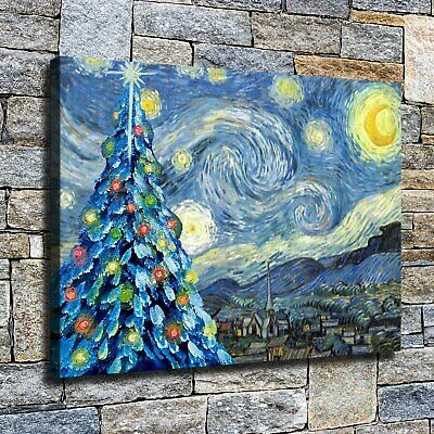 """12""""x16"""" Starry Night Christmas Tree HD Canvas prints Home decor Wall Art Picture"""