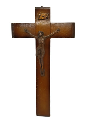Cross Bronze Wood Crucifix Antique Jesus Wall Christ Religious Vintage holy land
