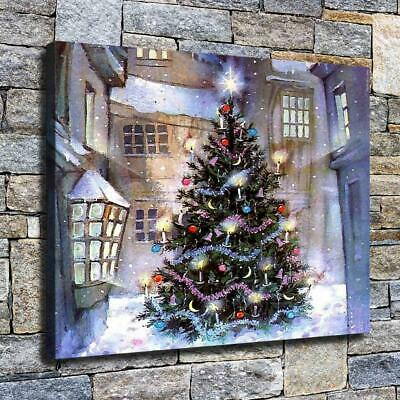 """12""""x16"""" Shiny Christmas Tree HD Canvas prints Home decor Room Wall art Pictures"""