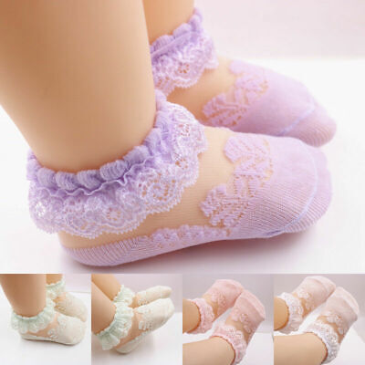 Soft Baby Girls Newborn Socks Breathable Sock Kids Frilly Ankle Cotton Lace Cute
