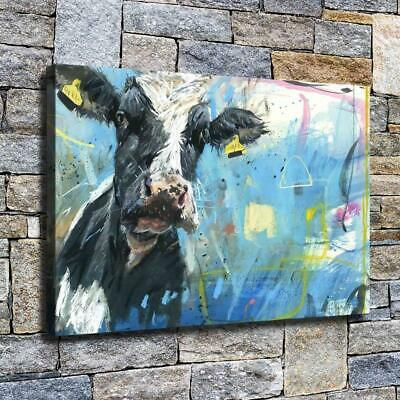 "12""x18"" Abstract Cow Painting HD Canvas prints Home decor Room Wall art Picture"