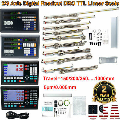 """2/3 Axis Digital Readout 0.0002"""" Linear Scale 150~1000MM Milling High Precision"""