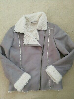 Girls Faux Suede Bomber Jacket With Fur Lining Age 9yrs