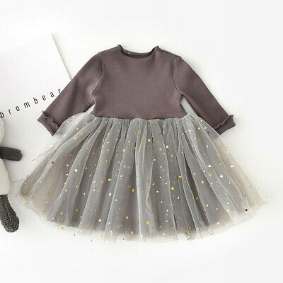 Toddler Baby Dress Girls Kids Clothes Long Sleeve Children Princess Tulle Dress