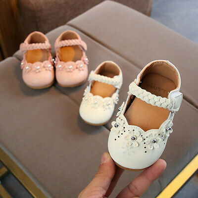 UK Kids Toddler Infant Shoes Baby Girls Solid Flower Autumn Flock Shoes Sneakers