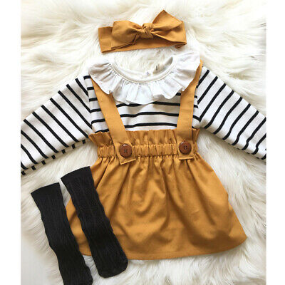 Toddler Infant Baby Girl Princess Lace Stripe Romper+Suspender Skirt Outfits Set
