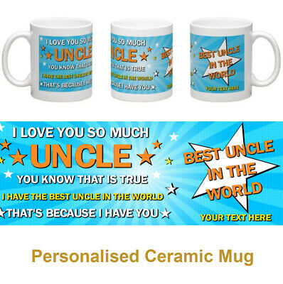 Best Uncle in the World personalised mug gift with photo option available