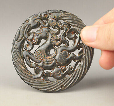 Old Chinese natural jade hand-carved horse and dragon pendant